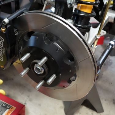 Disk brake exposed.