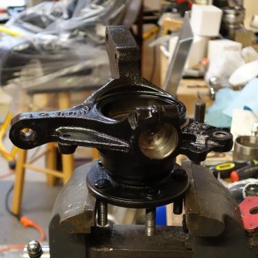 Wheel hub on vise.